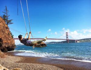 Financial Mom, Save money, investing, money blog, #momlife, bucket list, San Francisco bridge, Kirby cove, tree swing